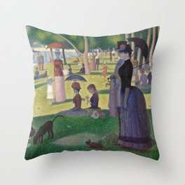 Georges Seurat - A Sunday Afternoon on the Island of La Grande Jatte Throw Pillow