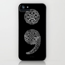 Patterned Semicolon: White on Black iPhone Case