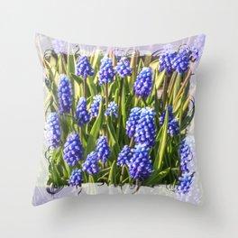 Grape hyacinths muscari Throw Pillow