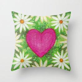 I heart Daisys Throw Pillow
