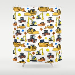 Construction Vehicles Pattern Shower Curtain