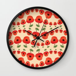 Red poppies dance Wall Clock