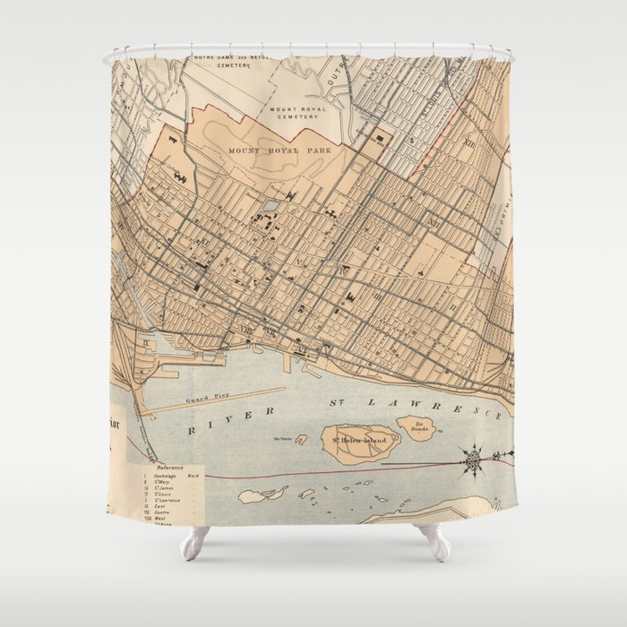 Vintage Map of Montreal (1906) Shower Curtain by bravuramedia | Society6