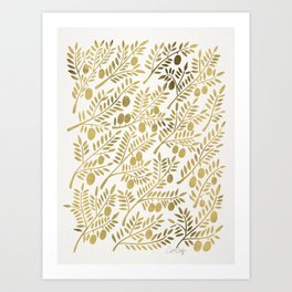 Gold Olive Branches Art Print