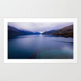 Lake Hawea lake wakatipo blue crystal clear panorama blue Art Print