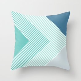 Teal Vibes - Geometric Triangle Stripes Throw Pillow