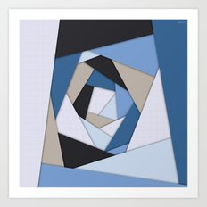 Abstract Blues Geometric Layers Art Print