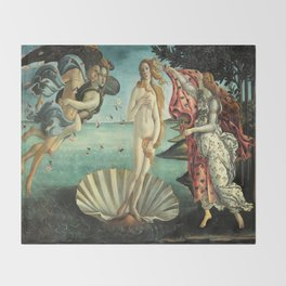 Sandro Botticelli's The Birth of Venus Throw Blanket