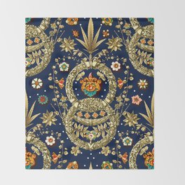 Art Nouveau Floral Pattern Throw Blanket
