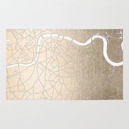 Gold on White London Street Map II Rug