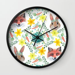 Easter Bunny & Spring fox with spring flowers Wall Clock
