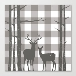 Deer & Birch Grey Plaid Canvas Print