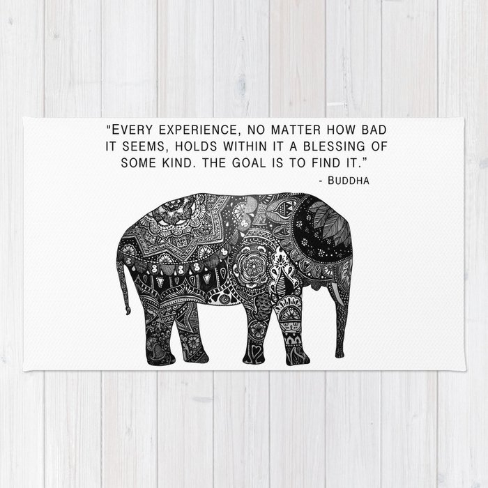 Buddha Quote With Henna Elephant Rug By Madelinemargaret Society6