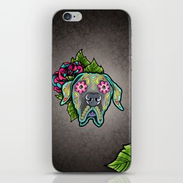 Great Dane with Floppy Ears - Day of the Dead Sugar Skull Dog iPhone Skin