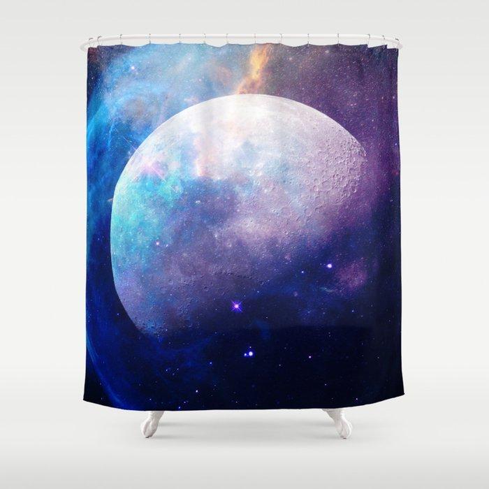 Elegant Galaxy Moon Space Shower Curtain