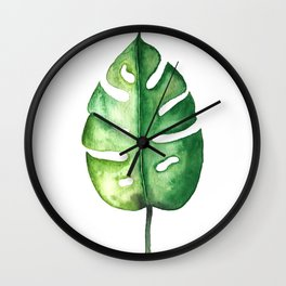 Watercolor Palm Leaf Wall Clock