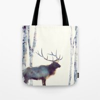 elk Tote Bags featuring Elk // Follow by Amy Hamilton