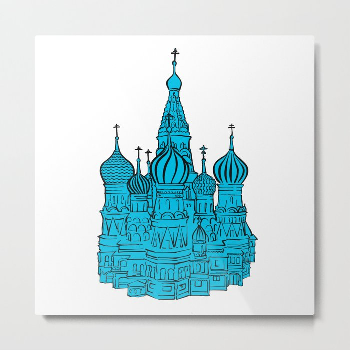 Moscow Kremlin illustration with colored backplate. Metal Print