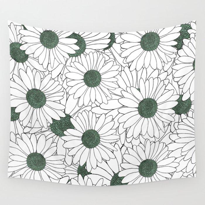 Daisy Mint Wall Tapestry