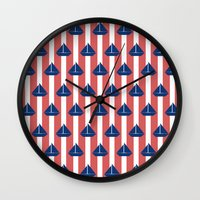 sailboat Wall Clocks featuring SAILBOAT by ovisum