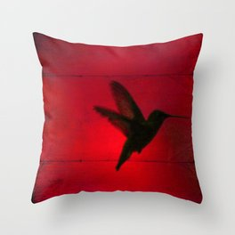 Hummingbird Behind the Red Blinds by CheyAnne Sexton Throw Pillow