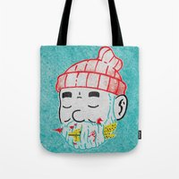 the life aquatic Tote Bags featuring Aquatic Life by Derek Eads