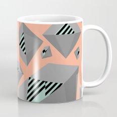 Mint and Gray Diamond on Peach Mug