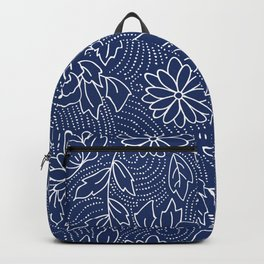 White and blue Japanese flowers pattern Backpack