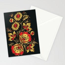 Golden russian folk Stationery Cards