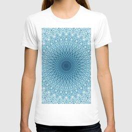 Stroked Quantum Mandala Blue 1 T-shirt