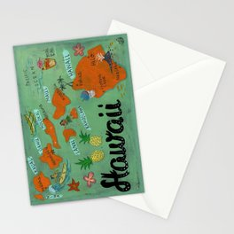 HAWAII map Stationery Cards