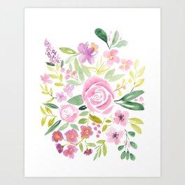 Spring Summer purple pink green loose floral watercolor Art Print