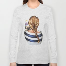 Brunette Braid Hairstyle Girl with Pug Dog Drawing Long Sleeve T-shirt