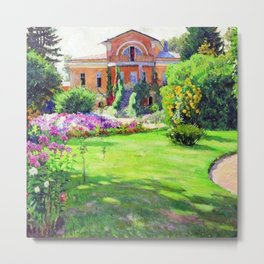 Tuscany Villa, Italy in Summer with Flowers and Sunflowers by Sergei Vinogradov Metal Print