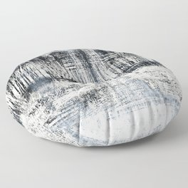 White Winter Abstract Floor Pillow