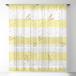 Gold Dragonfly Christmas seamless pattern and Gold Confetti on White and Yellow Stripes Background Sheer Curtain