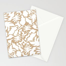 Minimal Shapes Peach Skintone Fall Palm Leaf Pattern Digital Art Print Stationery Cards
