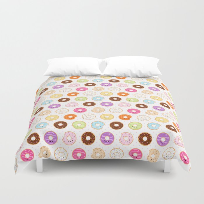 Happy Cute Donuts Pattern Duvet Cover