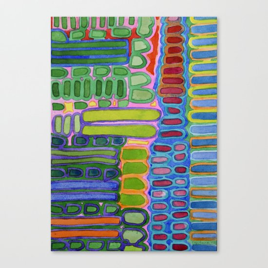 Colorful elongated Forms Pattern Canvas Print