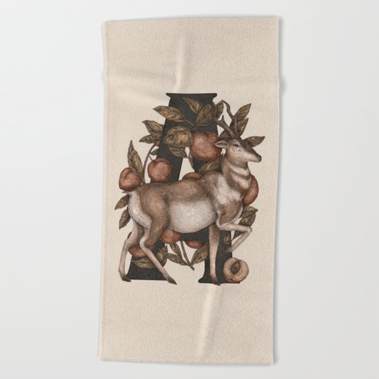 Letter A: Antelope & Apricots Beach Towel