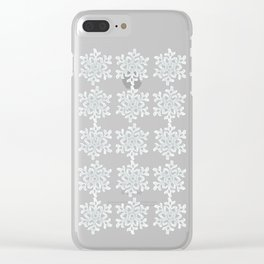 Crocheted Snowflake Ornaments - white on white with touch of teal Clear iPhone Case