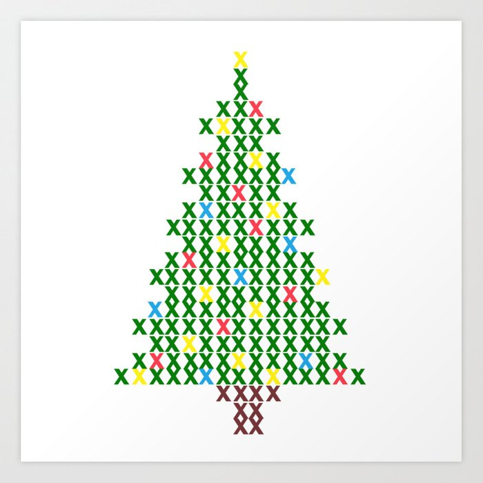 cross stitch christmas tree art print by bettysue society6