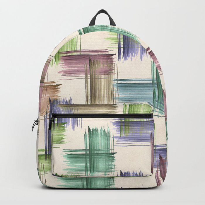 Watercolor brush strokes. Backpack