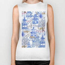 Party Leopards in the Pagoda Forest Biker Tank
