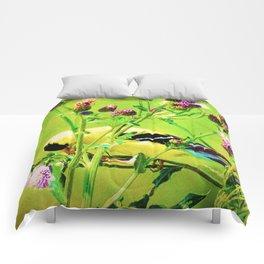 Goldfinch Yellow Bird Purple Flowers A101 Comforters