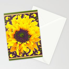 Moss Green Purple & Yellow Floral Garden Pattern Stationery Cards