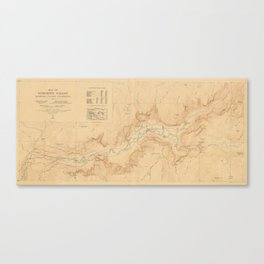 Vintage Map of Yosemite Valley (1907) Canvas Print
