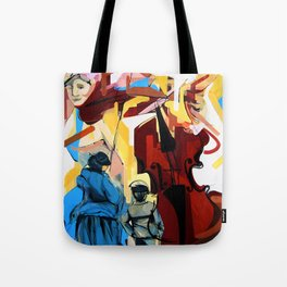 Expressive Cello People Painting Tote Bag