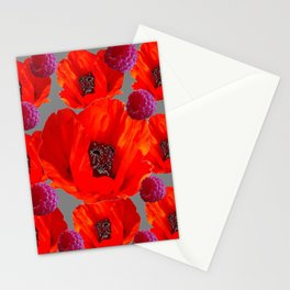SUCCULENT PURPLE RASPBERRIES & ORANGE POPPIES ABSTRACT Stationery Cards