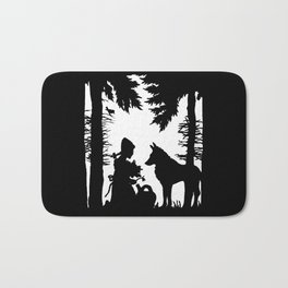 Black Silhouette Red Riding Hood Wolf in Woods Trees Bath Mat
